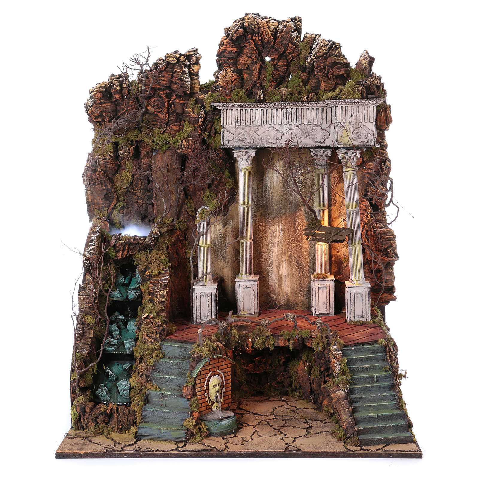 Scenery for nativity from Naples of 10-12-14 cm waterfall with SMOKE EFFECT 105x80x60 cm 4