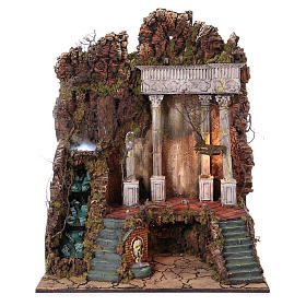 Scenery for nativity from Naples of 10-12-14 cm waterfall with SMOKE EFFECT 105x80x60 cm s1