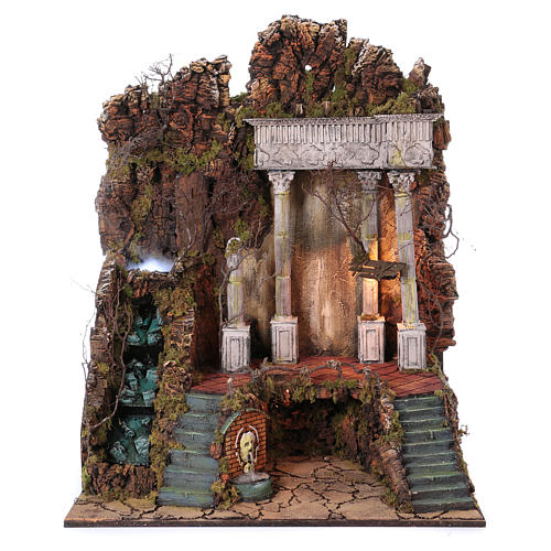 Scenery for nativity from Naples of 10-12-14 cm waterfall with SMOKE EFFECT 105x80x60 cm 1