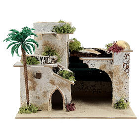 Arab style house with palm tree and porch 20x25x20 cm s1