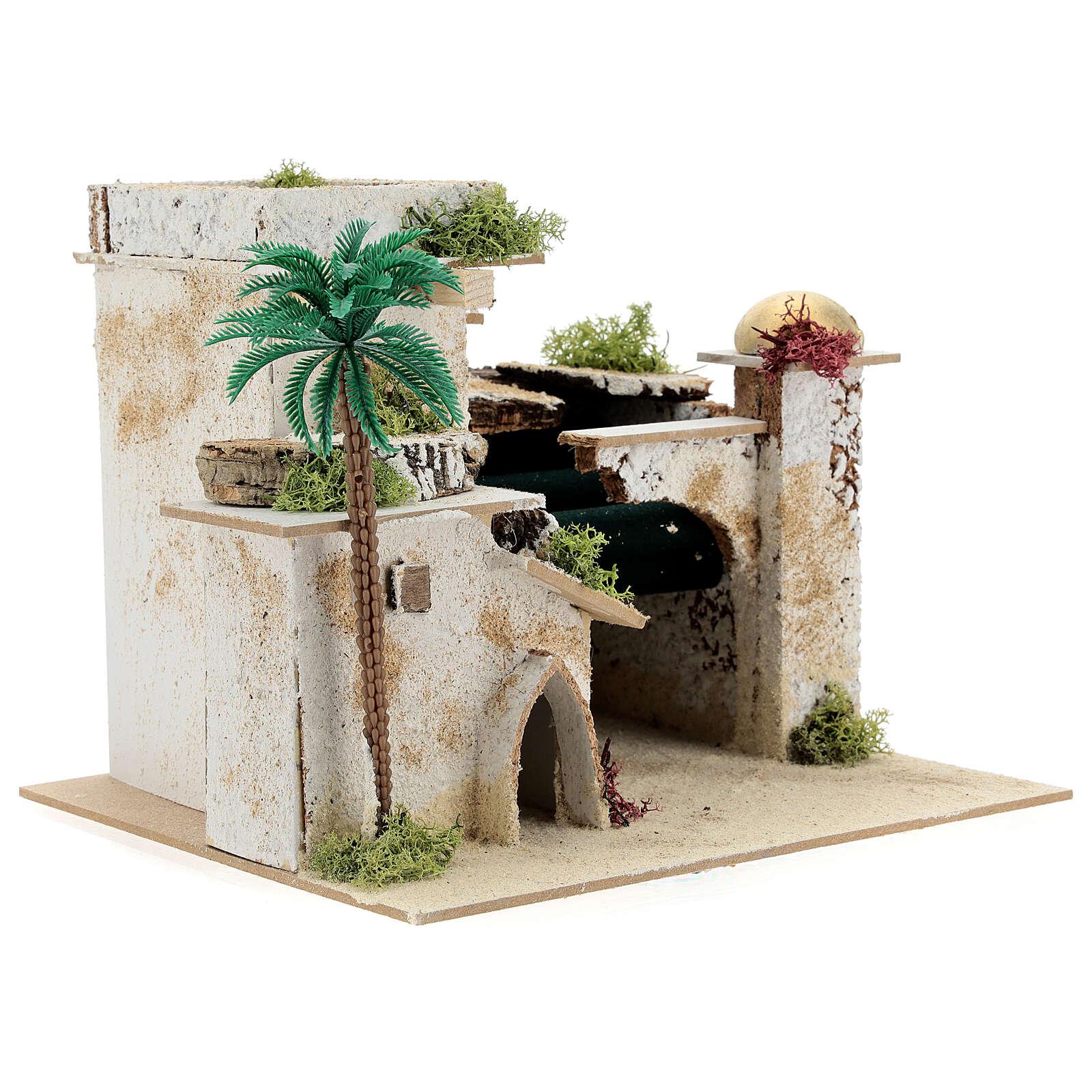 Casa en estilo árabe con palma y porche 20x25x20 cm 4
