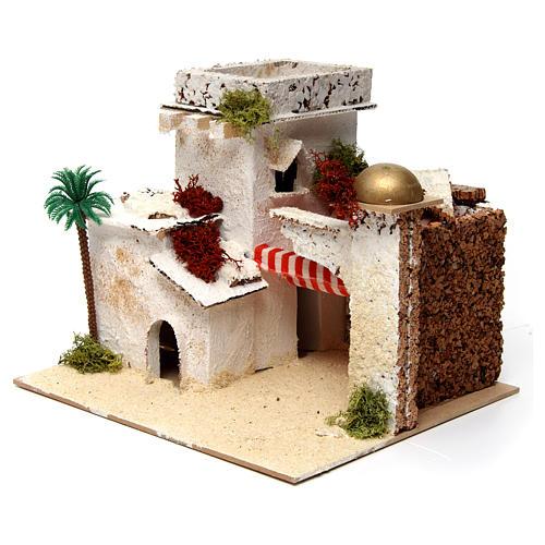 Casa en estilo árabe con palma y porche 20x25x20 cm 2