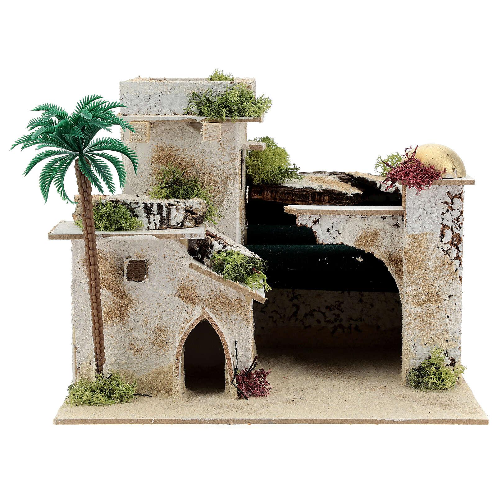 Maison en style arabe avec palmier et porche 20x25x20 cm 4