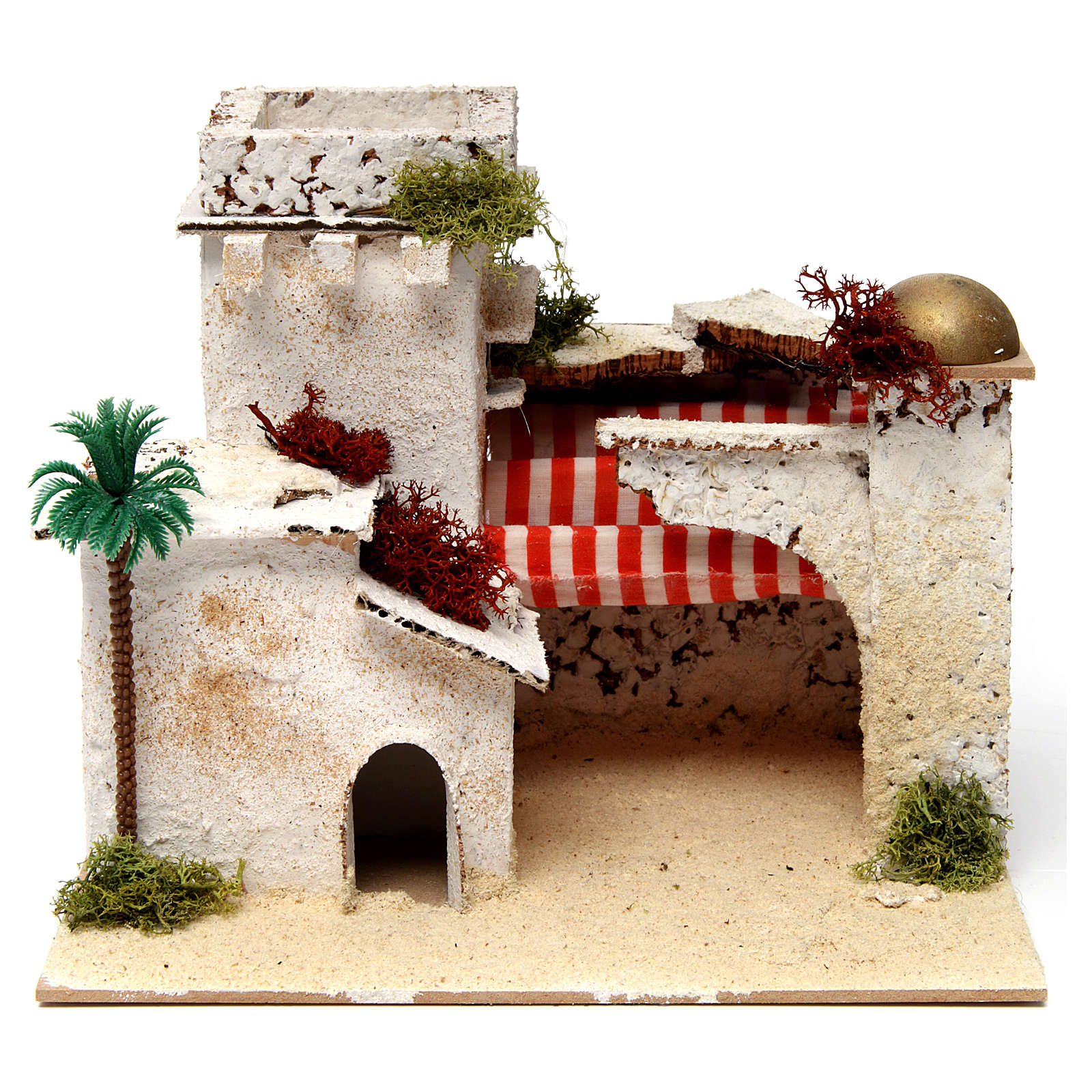Casa in stile arabo con palma e porticato 20x25x20 cm 4