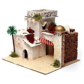 Casa in stile arabo con palma e porticato 20x25x20 cm s2