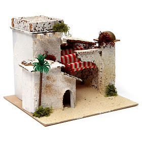 Casa in stile arabo con palma e porticato 20x25x20 cm s3