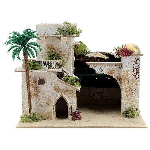 Casa in stile arabo con palma e porticato 20x25x20 cm 1