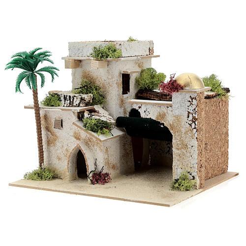 Casa in stile arabo con palma e porticato 20x25x20 cm 2