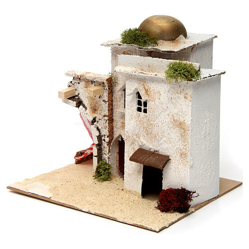 Nativity scene setting, Arab house with dome and doorways 20x25x20 cm 2