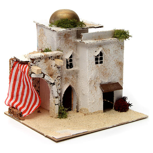 Nativity scene setting, Arab house with dome and doorways 20x25x20 cm 3