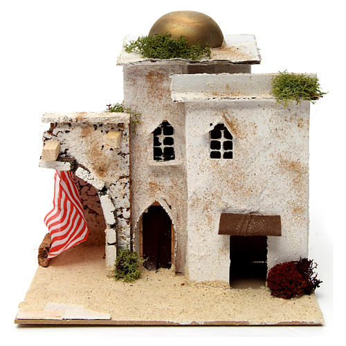 Maison style arabe avec dôme et rideau latéral 20x25x20 cm 1