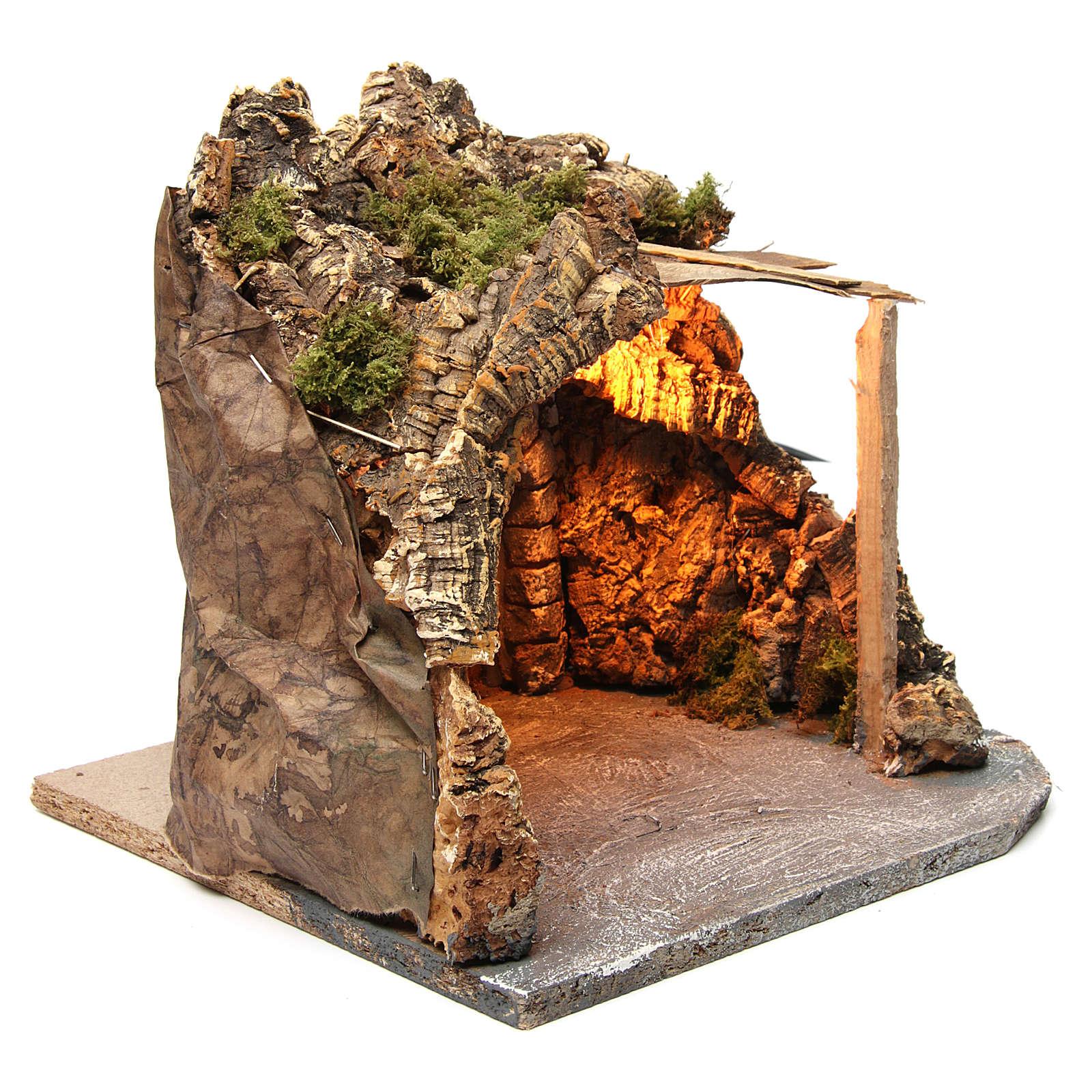 Ambientación iluminada con cobertizo madera y corcho 25x30x25 cm belén napolitano 4