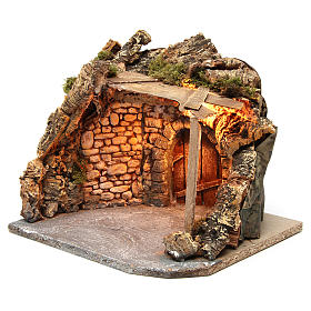 Illuminated stable with wooden porch and cork for Neapolitan Nativity Scene 25x28x25 cm s2