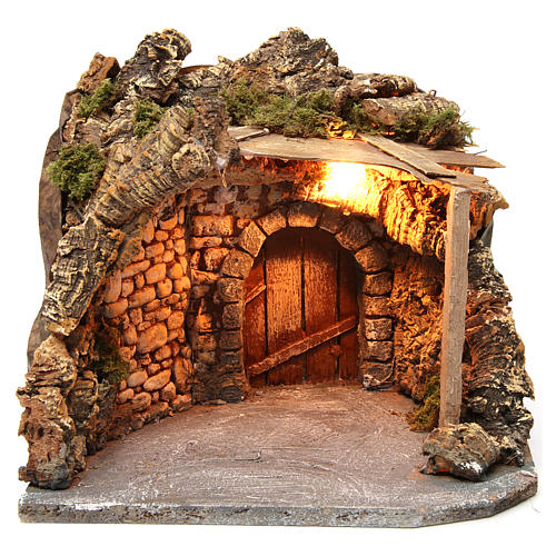Illuminated stable with wooden porch and cork for Neapolitan Nativity Scene 25x28x25 cm 1