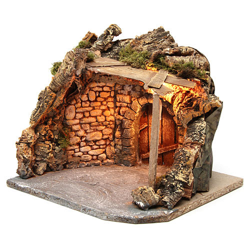 Illuminated stable with wooden porch and cork for Neapolitan Nativity Scene 25x28x25 cm 2