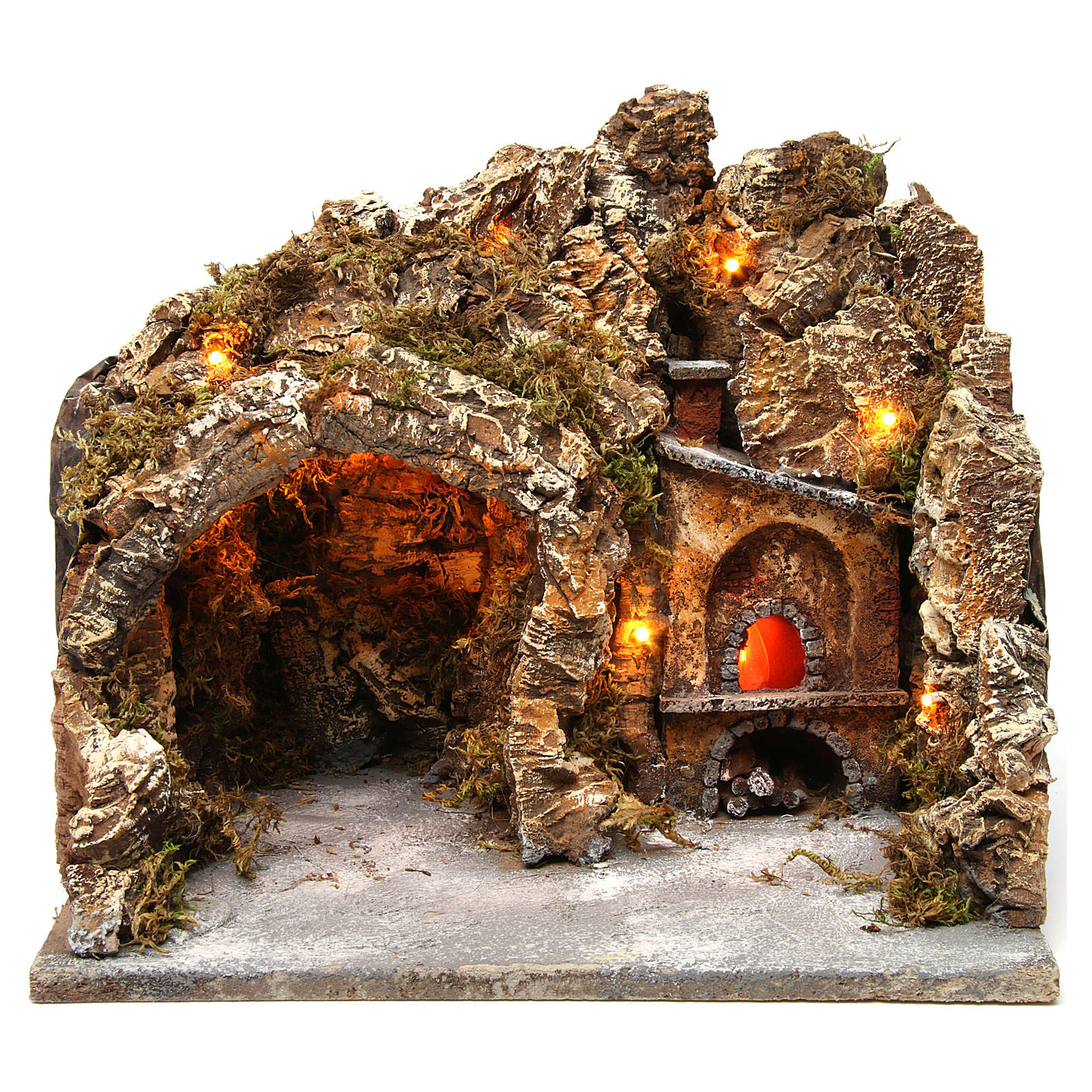 Nativity scene setting with external lights, cave and oven 30x35x30 cm, Neapolitan style 4