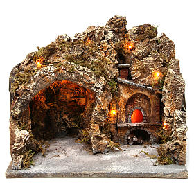 Nativity scene setting with external lights, cave and oven 30x35x30 cm, Neapolitan style s1