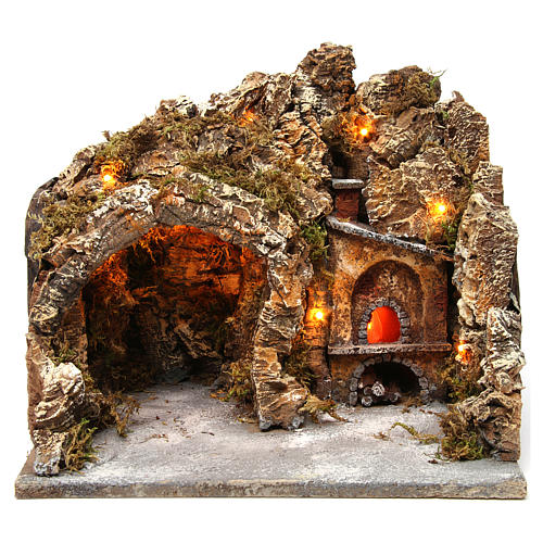 Nativity scene setting with external lights, cave and oven 30x35x30 cm, Neapolitan style 1