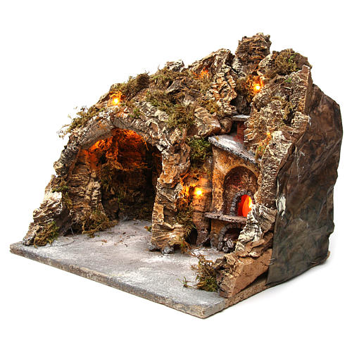Nativity scene setting with external lights, cave and oven 30x35x30 cm, Neapolitan style 2