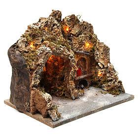Grotta con forno illuminato e luci esterne legno e sughero 30X35X30 cm presepe napoletano s3