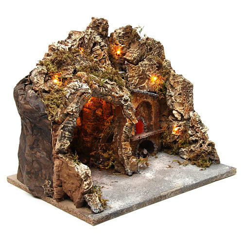 Grotta con forno illuminato e luci esterne legno e sughero 30X35X30 cm presepe napoletano 3