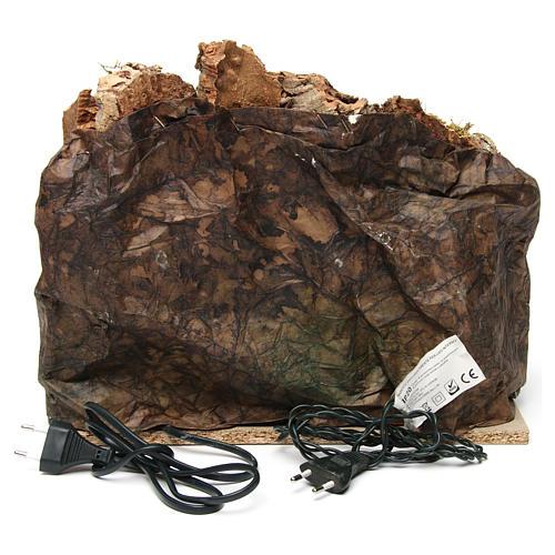 Grotta con forno illuminato e luci esterne legno e sughero 30X35X30 cm presepe napoletano 4