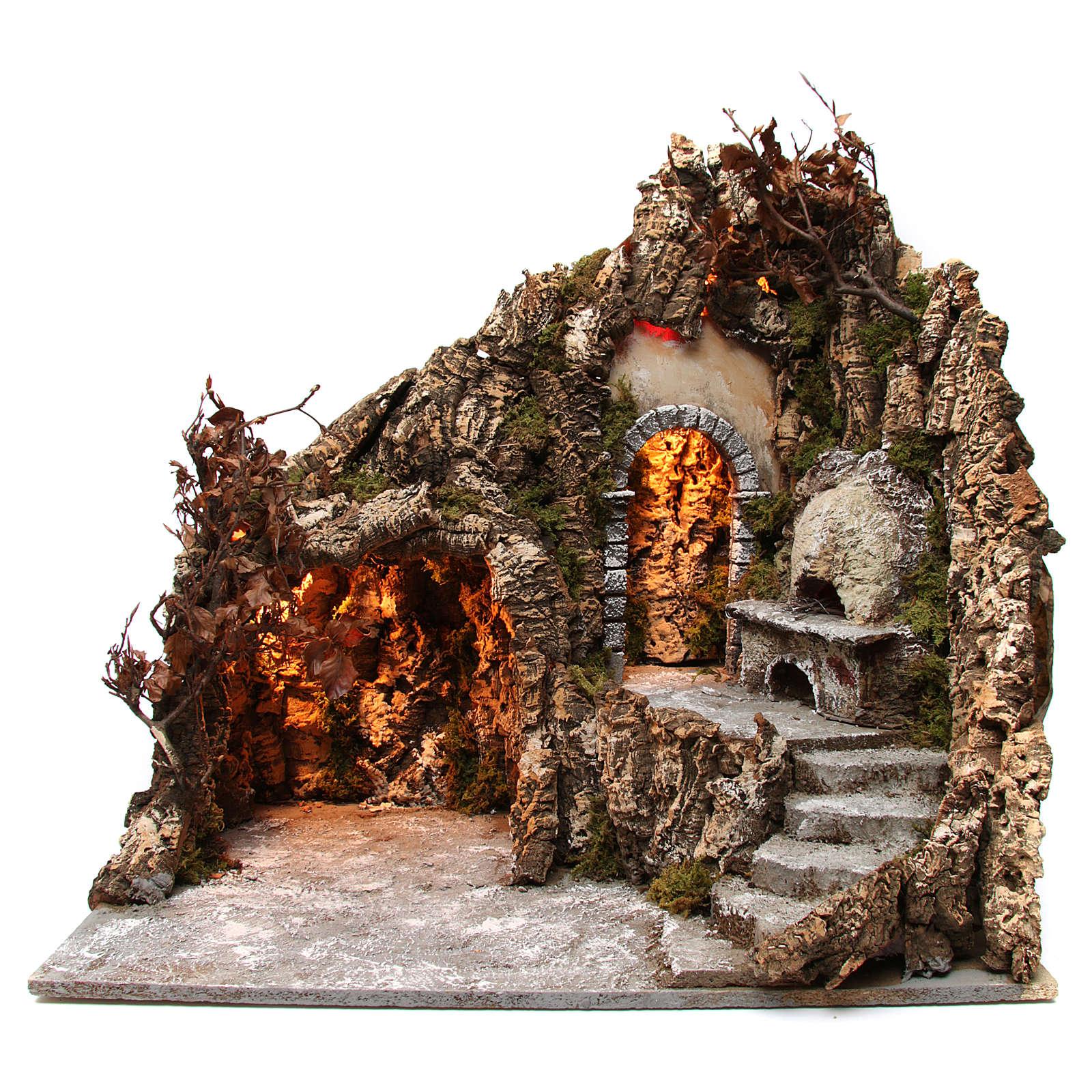 Szene der Krippe mit Grotte und Backofen 60x70x55cm neapolitanische Krippe 4