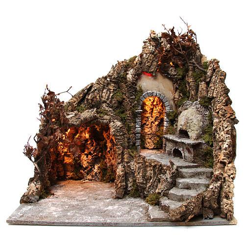 Szene der Krippe mit Grotte und Backofen 60x70x55cm neapolitanische Krippe 1