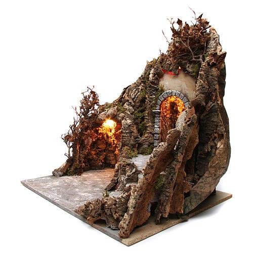 Szene der Krippe mit Grotte und Backofen 60x70x55cm neapolitanische Krippe 2