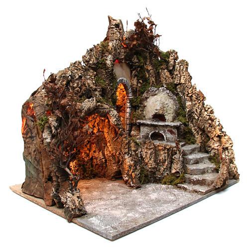 Szene der Krippe mit Grotte und Backofen 60x70x55cm neapolitanische Krippe 3