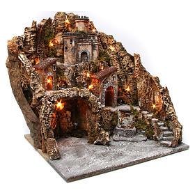 Village for nativity scene with cave, castle and fountain 50x55x60 cm, Neapolitan style s3