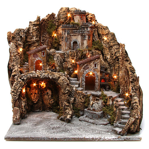 Village for nativity scene with cave, castle and fountain 50x55x60 cm, Neapolitan style 1