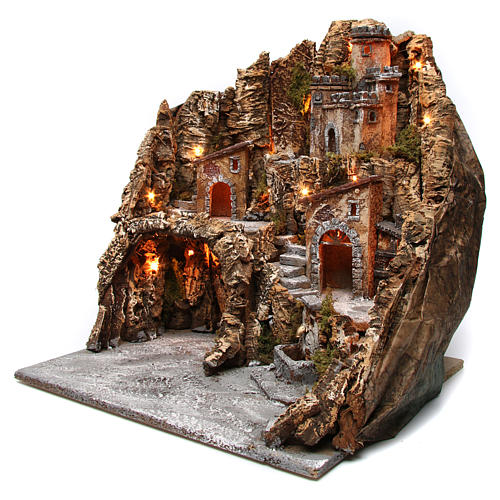 Village for nativity scene with cave, castle and fountain 50x55x60 cm, Neapolitan style 2