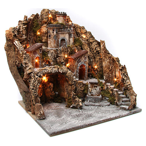 Village for nativity scene with cave, castle and fountain 50x55x60 cm, Neapolitan style 3