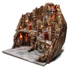 Borgo presepe grotta Natività castello fontana legno sughero 50X55X60 cm presepe napoletano s2