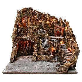 Borgo presepe illuminato con grotta Natività ruscello casette 45X50X60 cm presepe napoletano s1