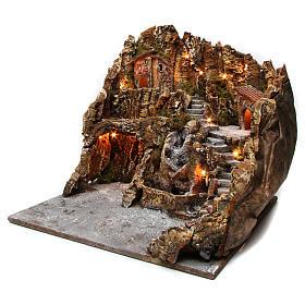 Borgo presepe illuminato con grotta Natività ruscello casette 45X50X60 cm presepe napoletano s2