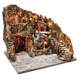 Borgo presepe illuminato con grotta Natività ruscello casette 45X50X60 cm presepe napoletano s3