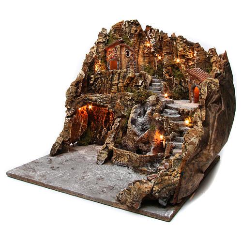 Borgo presepe illuminato con grotta Natività ruscello casette 45X50X60 cm presepe napoletano 2