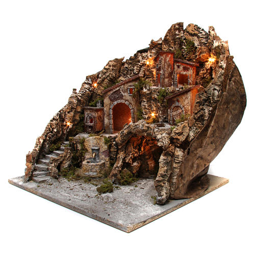 Village for nativity scene with lights, oven, fountain and cave 50x55x60 cm, Neapolitan style 2