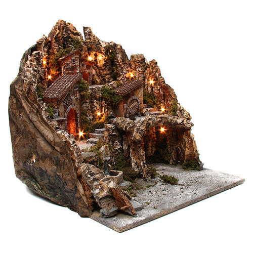 Village for nativity scene with lights, oven, fountain and cave 50x55x60 cm, Neapolitan style 3