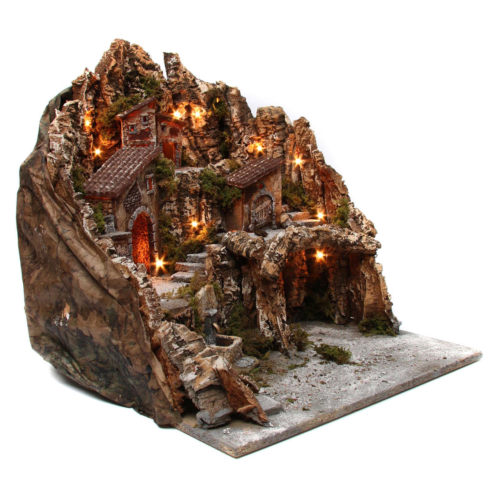 Aldea belén iluminado con horno fuente y cueva 50x55x60 cm belén napolitano 4