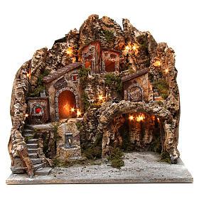 Borgo presepe illuminato con forno fontana e grotta 50X55X60 cm presepe napoletano s1