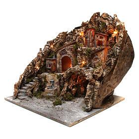 Borgo presepe illuminato con forno fontana e grotta 50X55X60 cm presepe napoletano s2