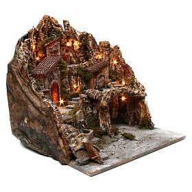 Borgo presepe illuminato con forno fontana e grotta 50X55X60 cm presepe napoletano s3