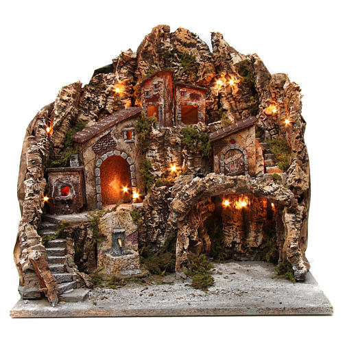 Borgo presepe illuminato con forno fontana e grotta 50X55X60 cm presepe napoletano 1