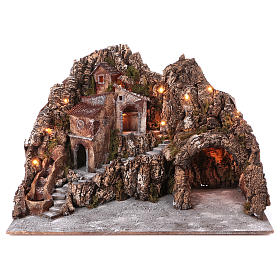 Village for nativity scene with lights, water stream movement and cave 55x85x65 cm, Neapolitan style s1