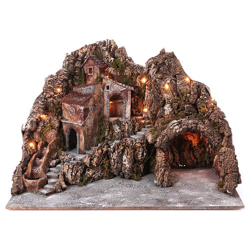 Village for nativity scene with lights, water stream movement and cave 55x85x65 cm, Neapolitan style 1