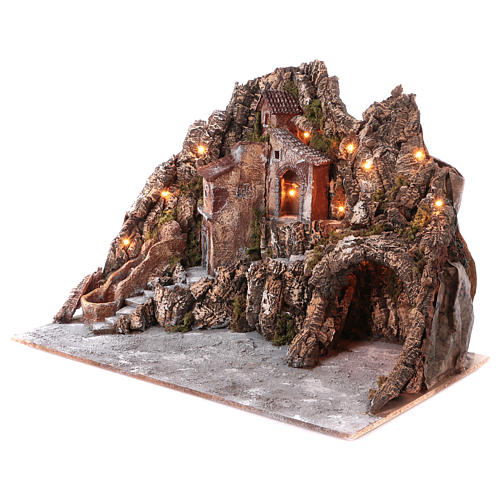Village for nativity scene with lights, water stream movement and cave 55x85x65 cm, Neapolitan style 2