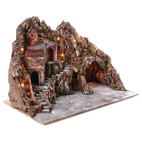 Village for nativity scene with lights, water stream movement and cave 55x85x65 cm, Neapolitan style 3